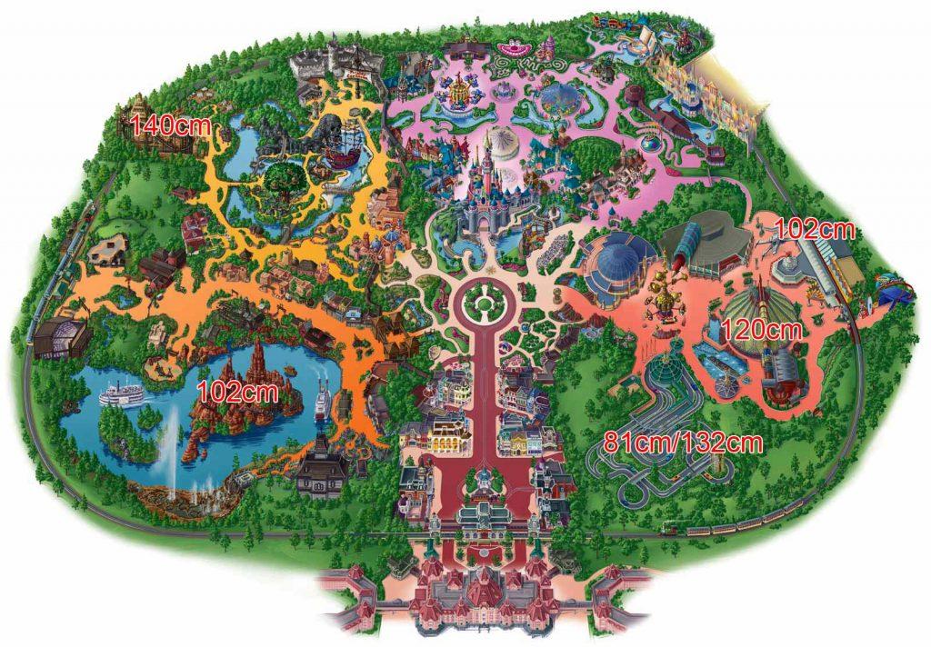 Disneyland Park mit Größenangaben
