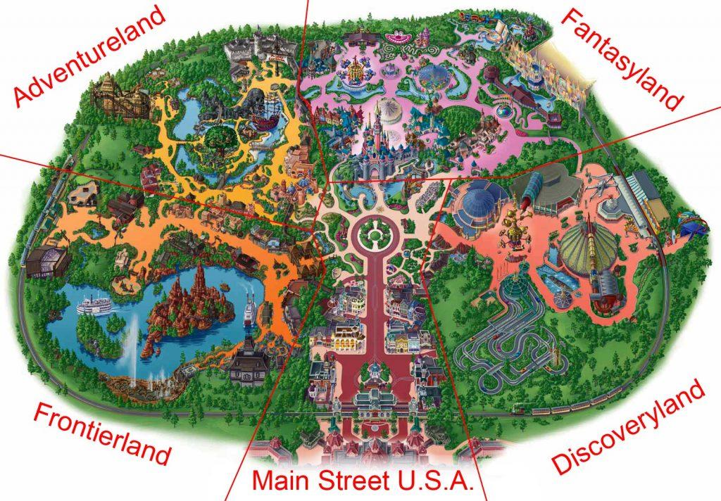 Disneyland Park mit den 5 Themenländer