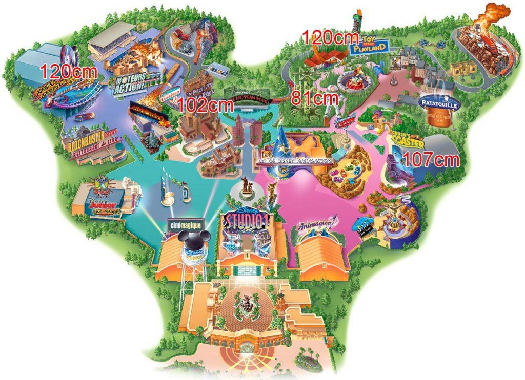 Walt Disney Studios Park mit Größenangaben